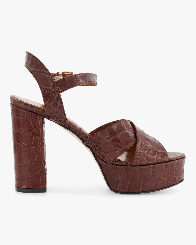 Croc-Embossed Leather Platform Sandal