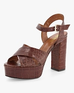 Paris Texas Croc-Embossed Leather Platform Sandal 1