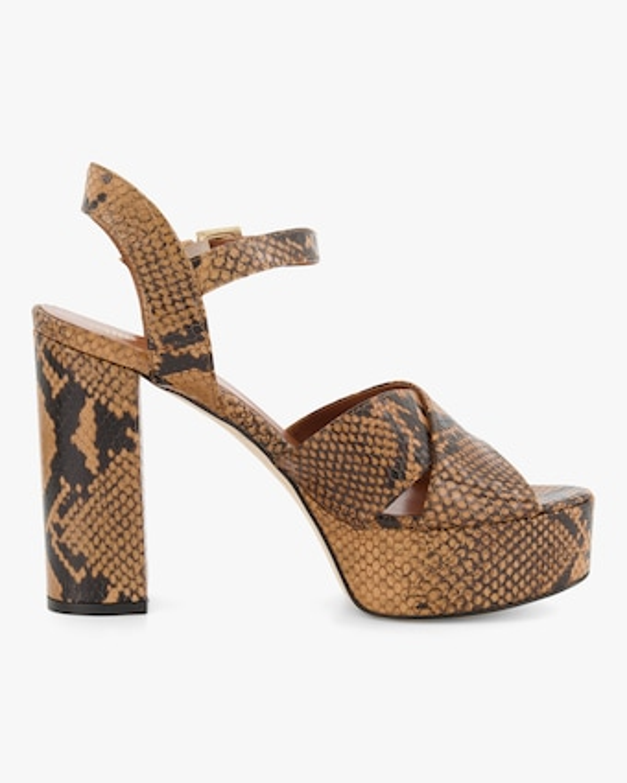 Paris Texas Python-Embossed Platform Sandal 1
