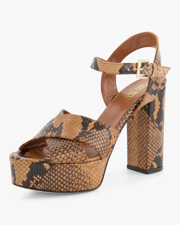 Python-Embossed Platform Sandal