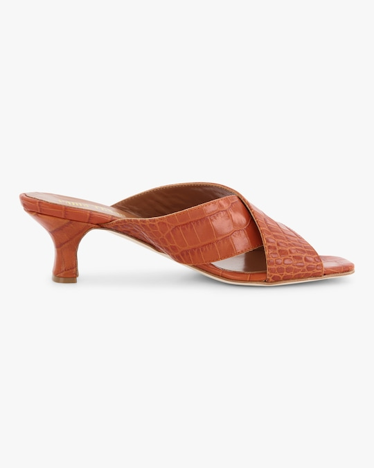 Paris Texas Croc-Embossed Crossover Mule 0