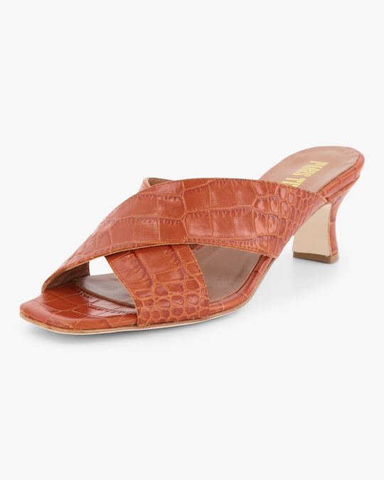 Paris Texas Croc-Embossed Crossover Mule 1