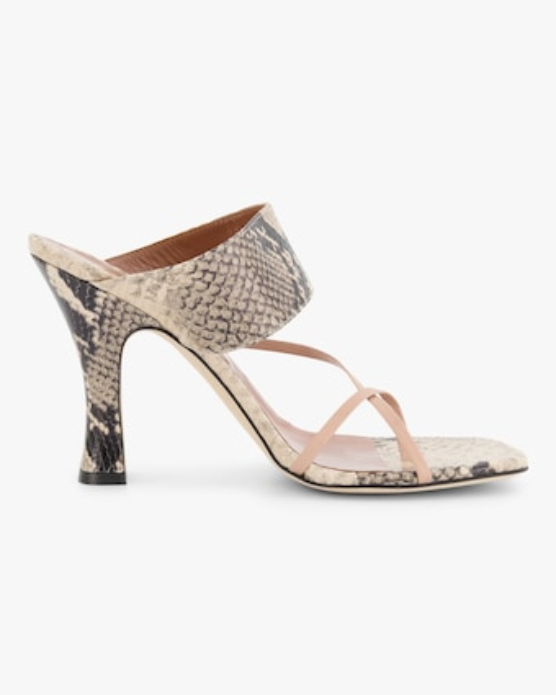 Paris Texas Python-Embossed Crossover Thong Sandal 1