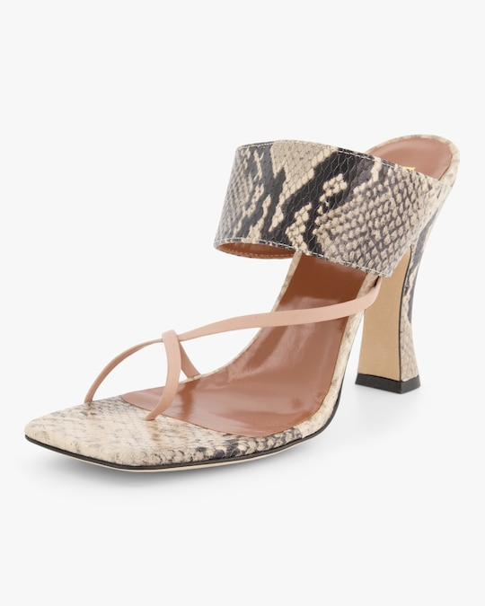 Paris Texas Python-Embossed Crossover Thong Sandal 1