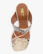 Paris Texas Python-Embossed Crossover Thong Sandal 2