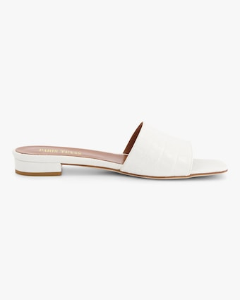Croc-Embossed Square-Toe Slide