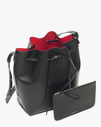 Black Flamma Leather Bucket Bag
