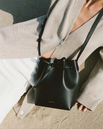 Black Flamma Mini Leather Bucket Bag