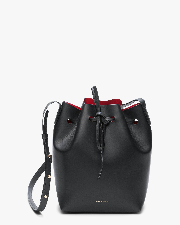 Mansur Gavriel Black Flamma Mini Leather Bucket Bag 1