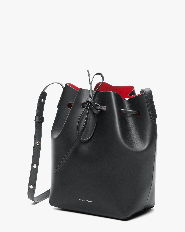 Black Flamma Mini Leather Bucket Bag