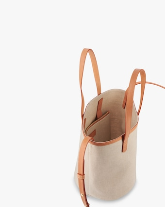 Mini Canvas Circle Bucket Bag
