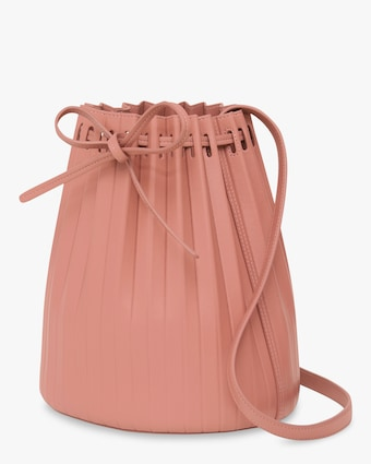 Blush Pleated Bucket Bag