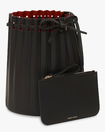 Black Flamma Pleated Bucket Bag