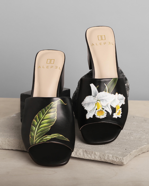 Alepel Black Orchid & Leaf Peep-Toe Mule 1