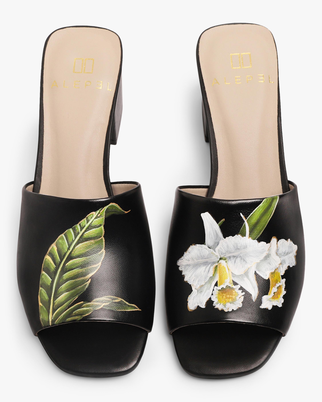 Alepel Black Orchid & Leaf Peep-Toe Mule 0