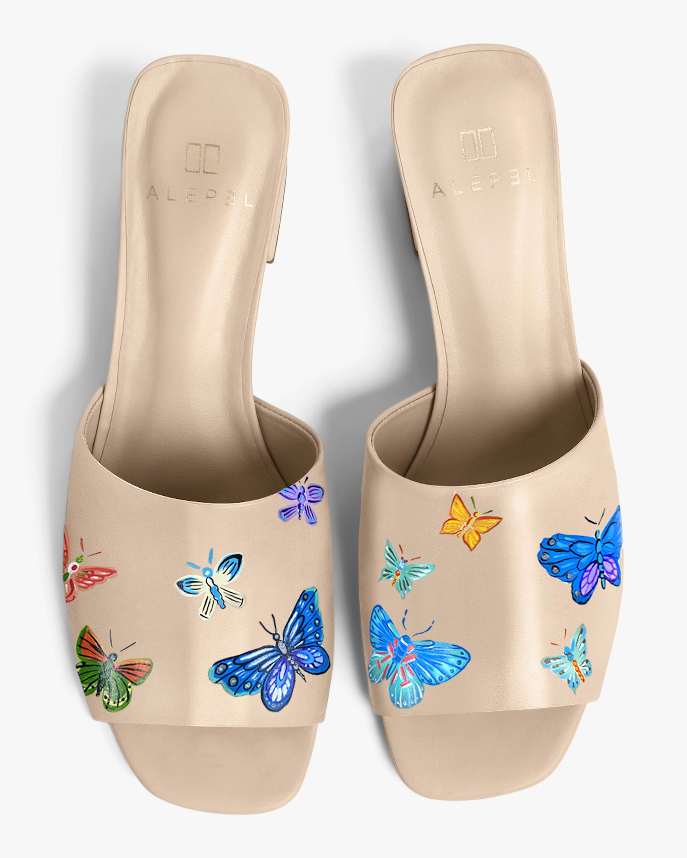 Alepel Nude Butterflies Peep-Toe Mule 0