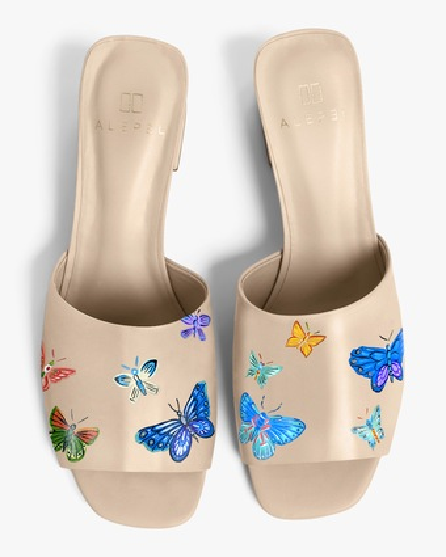 Alepel Nude Butterflies Peep-Toe Mule 1