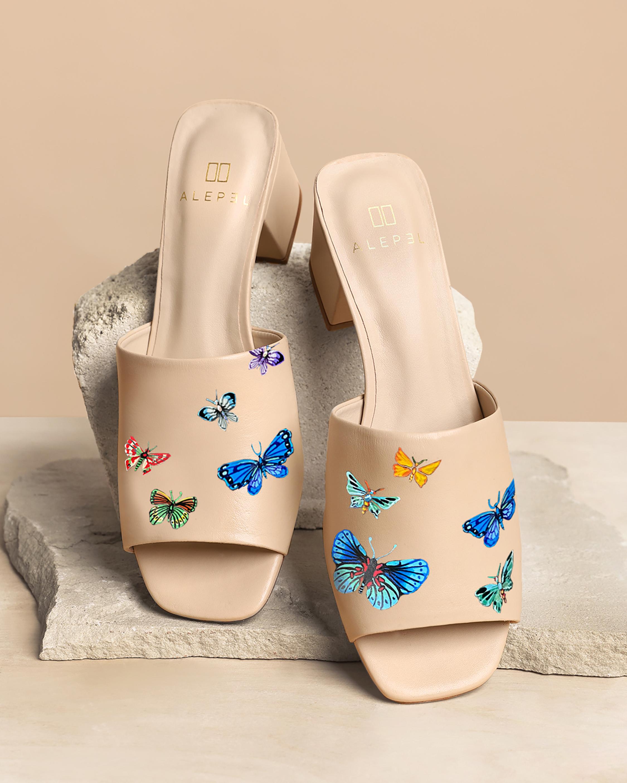 Nude Butterflies Peep-Toe Mule