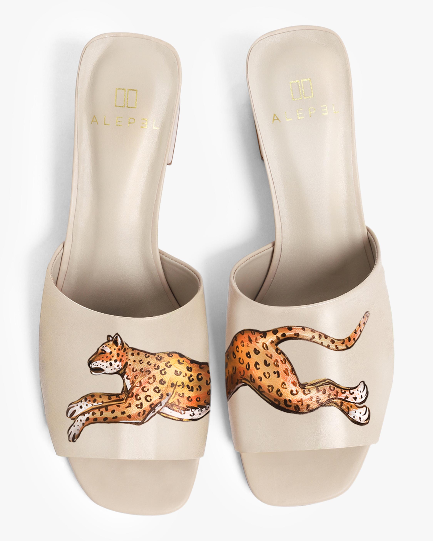 Alepel Nude Leopard Peep-Toe Mule 1