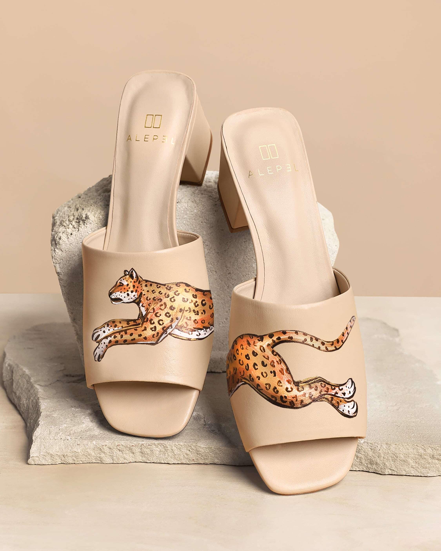 Alepel Nude Leopard Peep-Toe Mule 2