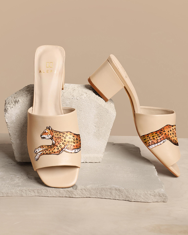 Nude Leopard Peep-Toe Mule