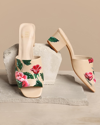 Alepel Red Roses Nude Peep Toe Mule 2