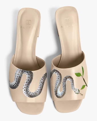 Alepel Nude Serpent Peep-Toe Mule 1