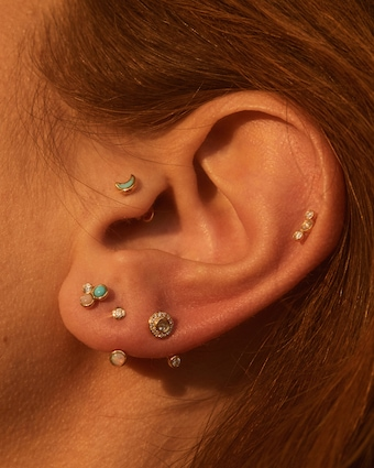 Single Moon Stud Earring