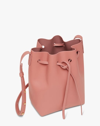 Blush Mini Leather Bucket Bag