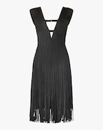 Herve Leger V Neck Cutout Fringe Dress 0