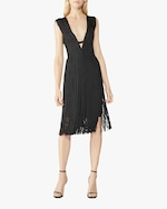 Herve Leger V Neck Cutout Fringe Dress 1