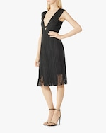 Herve Leger V Neck Cutout Fringe Dress 2