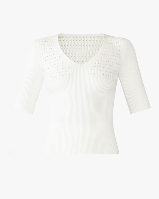 Herve Leger Rib Pointelle V-Neck Top 0