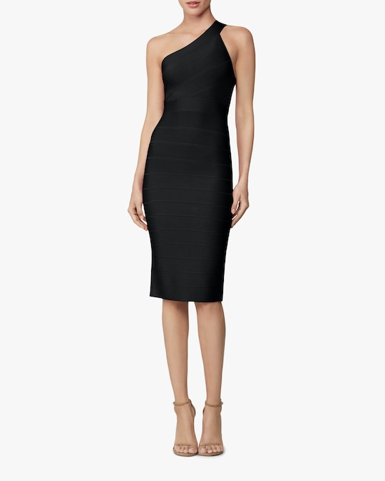 Herve Leger Asymmetrical One-Shoulder Dress 1