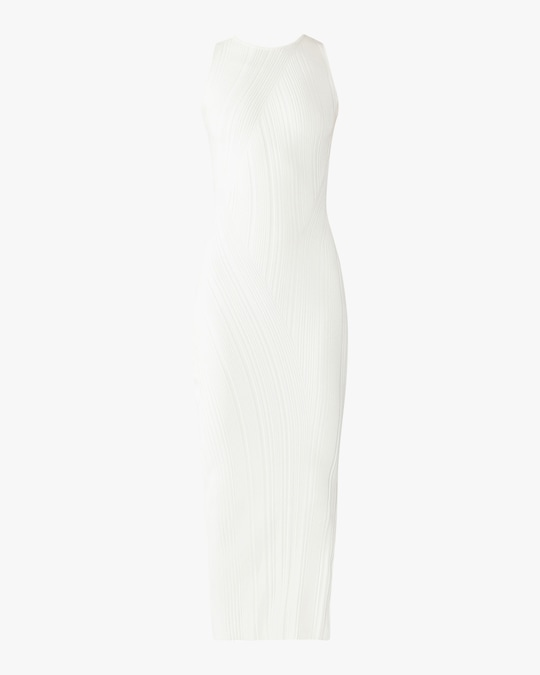 Herve Leger Rib-Knit Sleeveless Turtleneck Dress 0