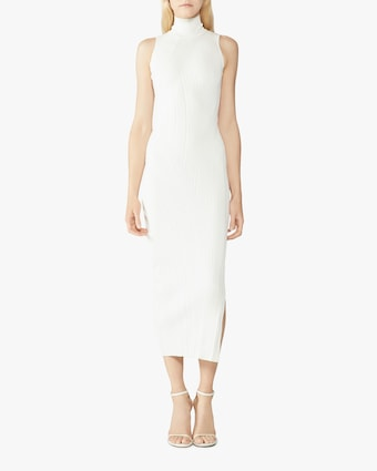 Herve Leger Rib-Knit Sleeveless Turtleneck Dress 2