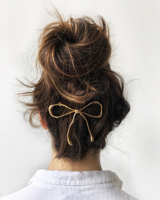 Lelet NY Glossy Gold Bow Barrette 2