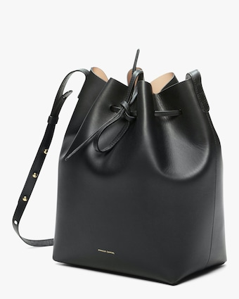 Black Ballerina Leather Bucket Bag