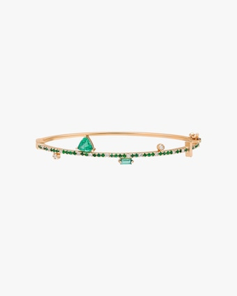 Harika White Diamond & Emerald Bangle 1