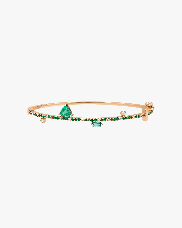 White Diamond & Emerald Bangle