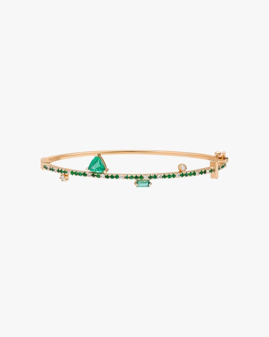 Harika White Diamond & Emerald Bangle 0
