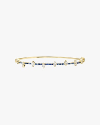 Harika White Diamond & Blue Sapphire Bangle 1