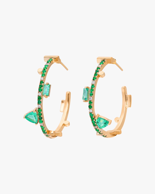 Emerald Hoop Earrings