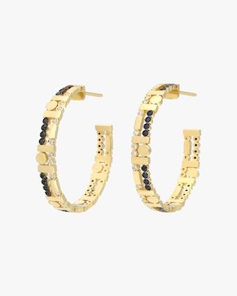 Harika Black & White Diamond Hoop Earrings 1