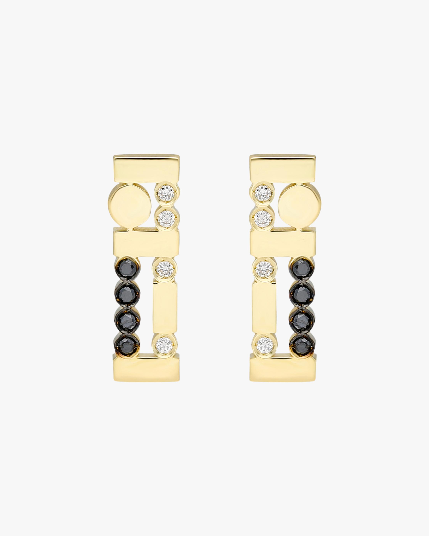 Harika Black & White Diamond Bar Earrings 2