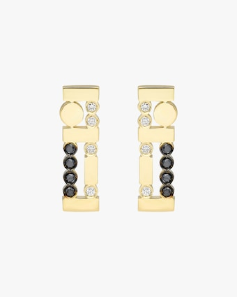 Harika Black & White Diamond Bar Earrings 2