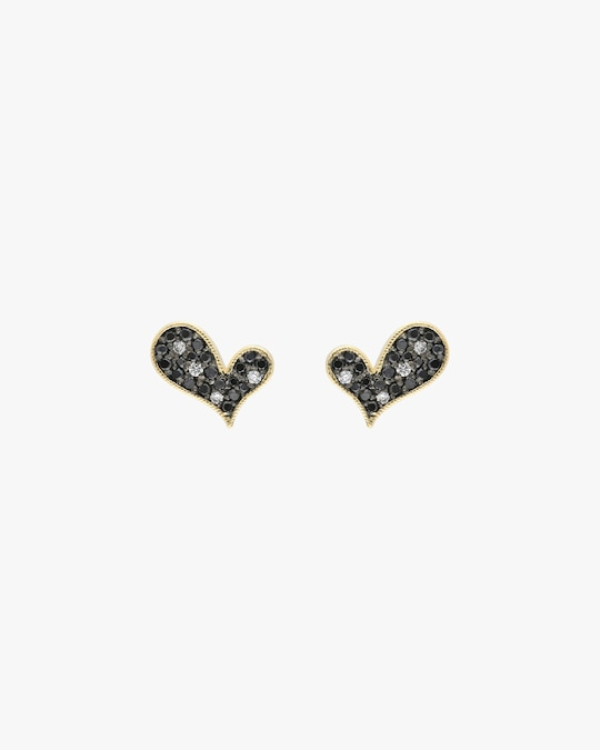 Harika Black & White Diamond Heart Stud Earrings 0