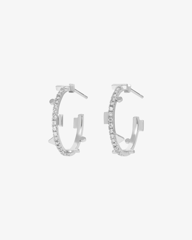 Harika White Diamond Hoop Earrings 2