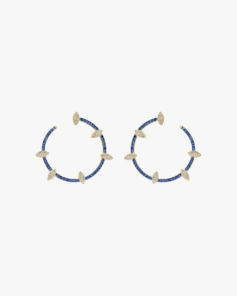 Harika Blue Sapphire & White Diamond Spiral Hoop Earrings 1
