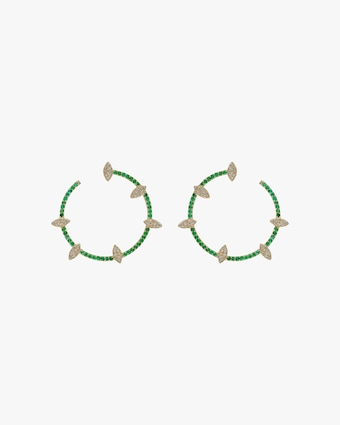Harika Emerald & White Diamond Spiral Hoop Earrings 1